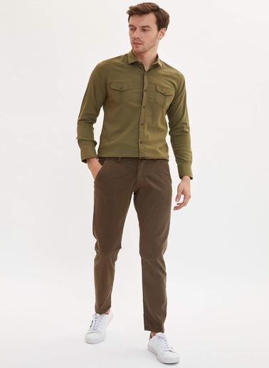 DeFacto Çift Cepli Slim Fit Gömlek Haki